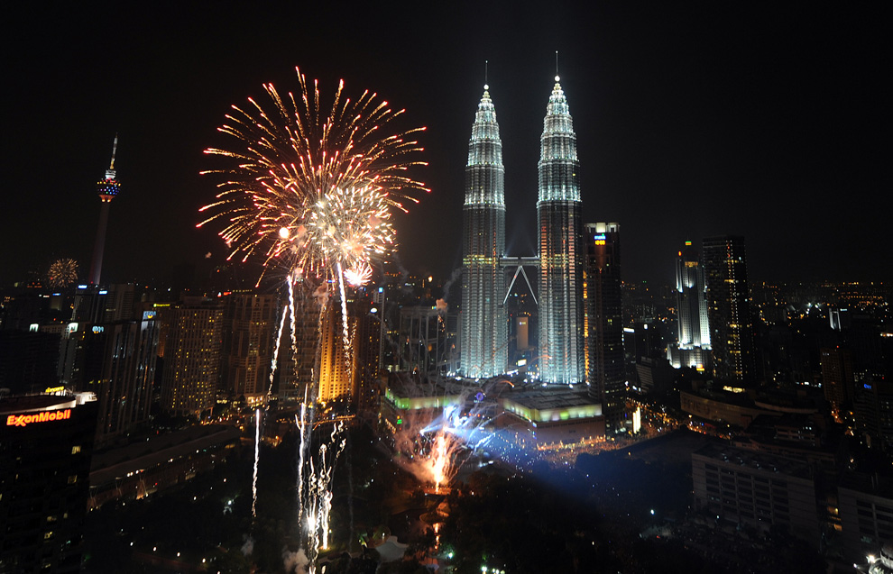 the New Year 2010 celebrations in Kuala Lumpur on January 1, 2010.