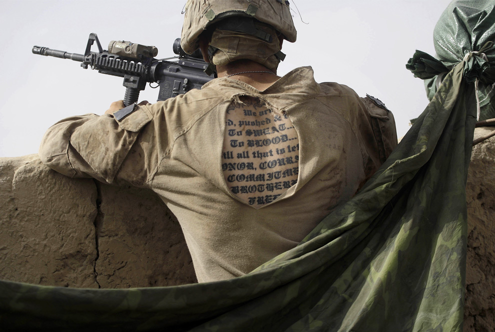 The tattoo of a U.S. Marine from the 2nd MEB, 1st Battalion 5th Marine,