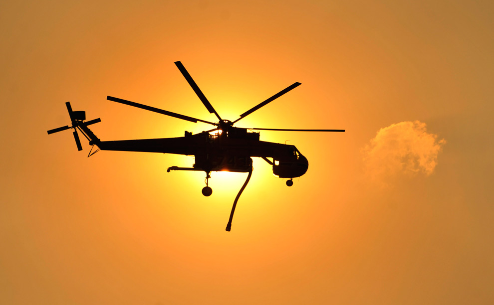 A Sikorsky Skycrane seen in the sky