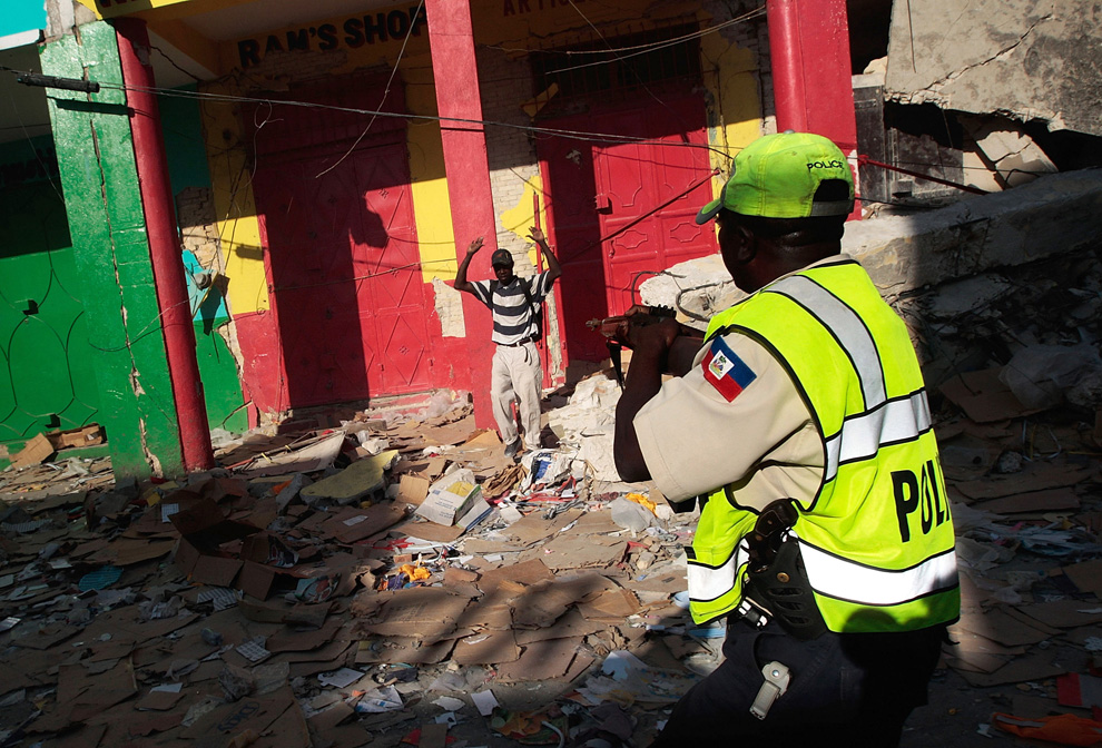 Haiti Earthquake Haitian police officer