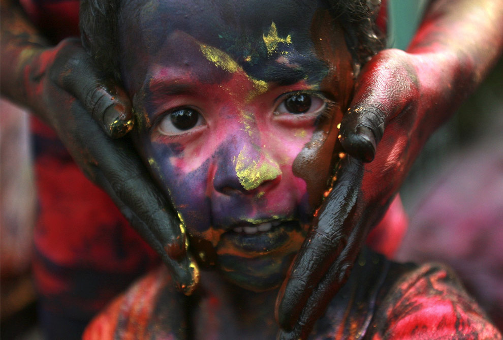 A painted face in Kolkata