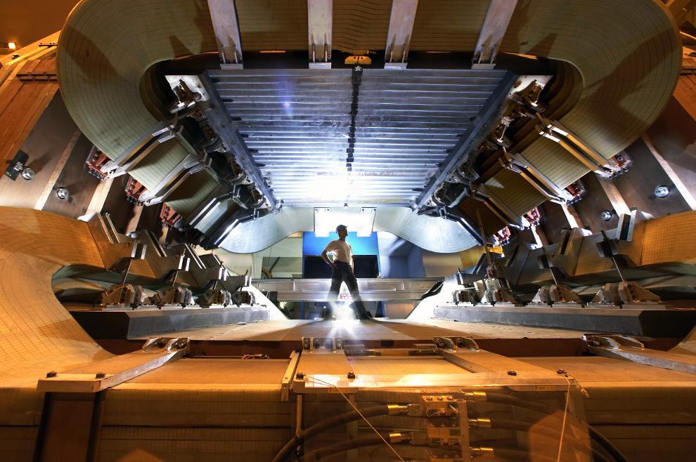 Man, seen through LHC magnet