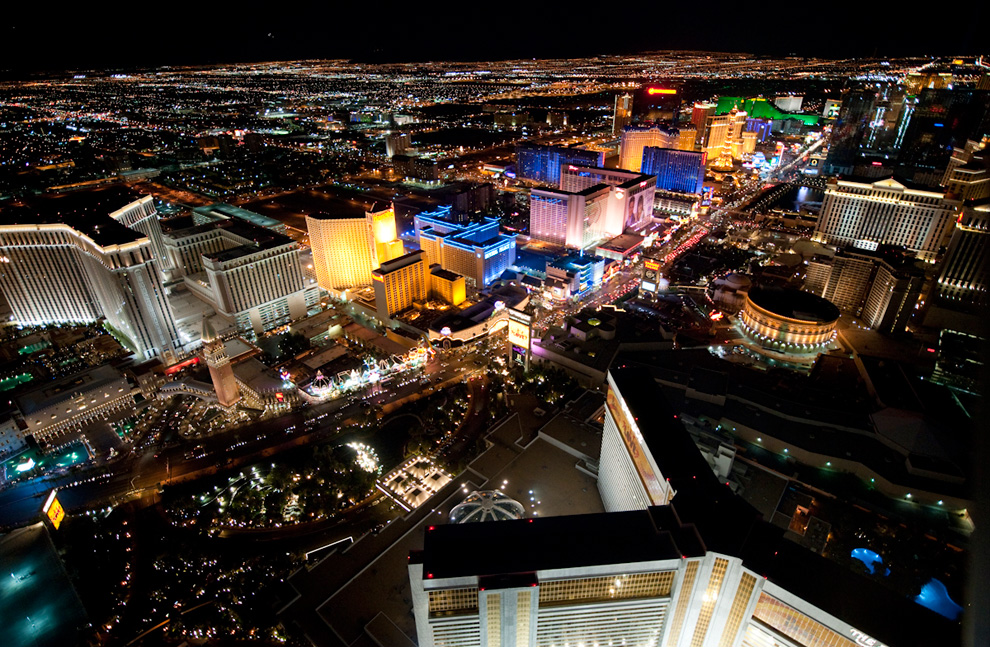 The Vegas Strip from above The Mirage.