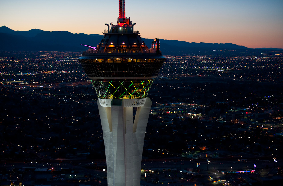 The Stratosphere Las Vegas. The tower has two observation decks, a revolving restaurant and three rides.