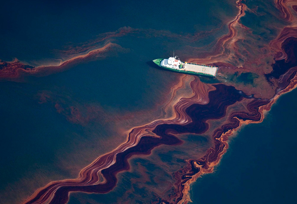 An aerial view of the oil leaked from the Deepwater Horizon wellhead, May 6, 2010.