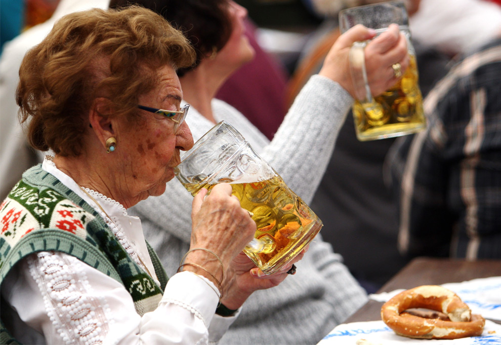 Sipping woman in Munich