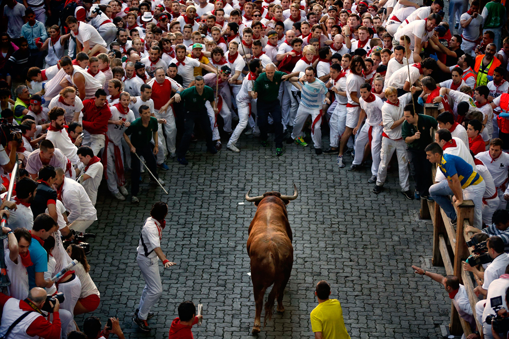 Image result for Running of the Bulls in Pamplona
