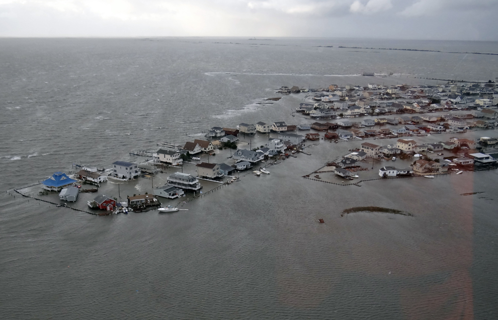 Flooded homes in Tuckerton, N.J., on Oct. 30 after Hurricane Sandy