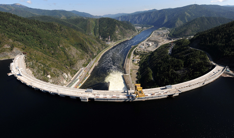 The Sayano-Shushenskaya hydroelectric power dam is seen from above Cheryomushky, Russia on August 20, 2009