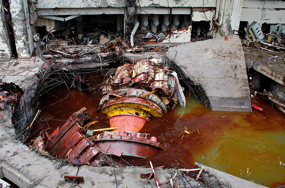 Damaged equipment is seen at the Sayano-Shushenskaya hydroelectric plant.