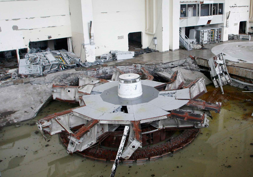 The damaged and flooded generator hall of the Sayano-Shushenskaya hydroelectric power station