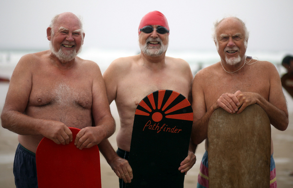Belly boarders in the over-60s heat pose on Chapel Porth beach for a photo ahead of the first heat in the 2010 championship on September 5, 2010 in Newquay, England. (Matt Cardy)
