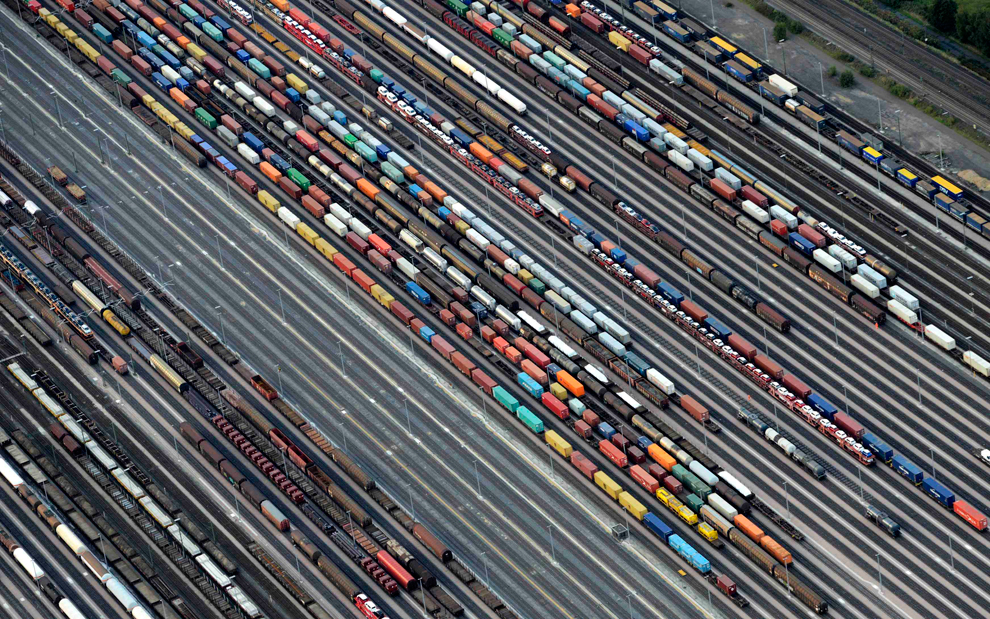 Freight trains are readied at the railroad shunting yard in Maschen, Germany on September 23, 2012. (Fabian Bimmer/Reuters)