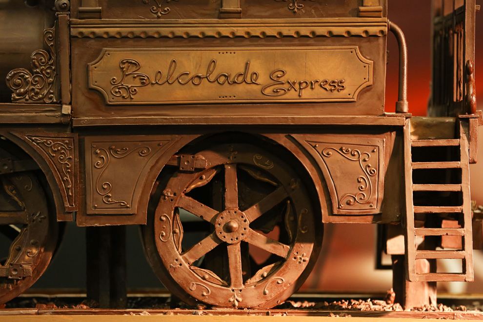 A train made of chocolate during a Guinness Book World record event ahead of the Brussels Week of Chocolate, entices at Brussels South station on November 19, 2012. The train by Andrew Farrugia of Malta is made of 1,285 kg of chocolate and is 34.05 meters long. (Julien Warnand/EPA)