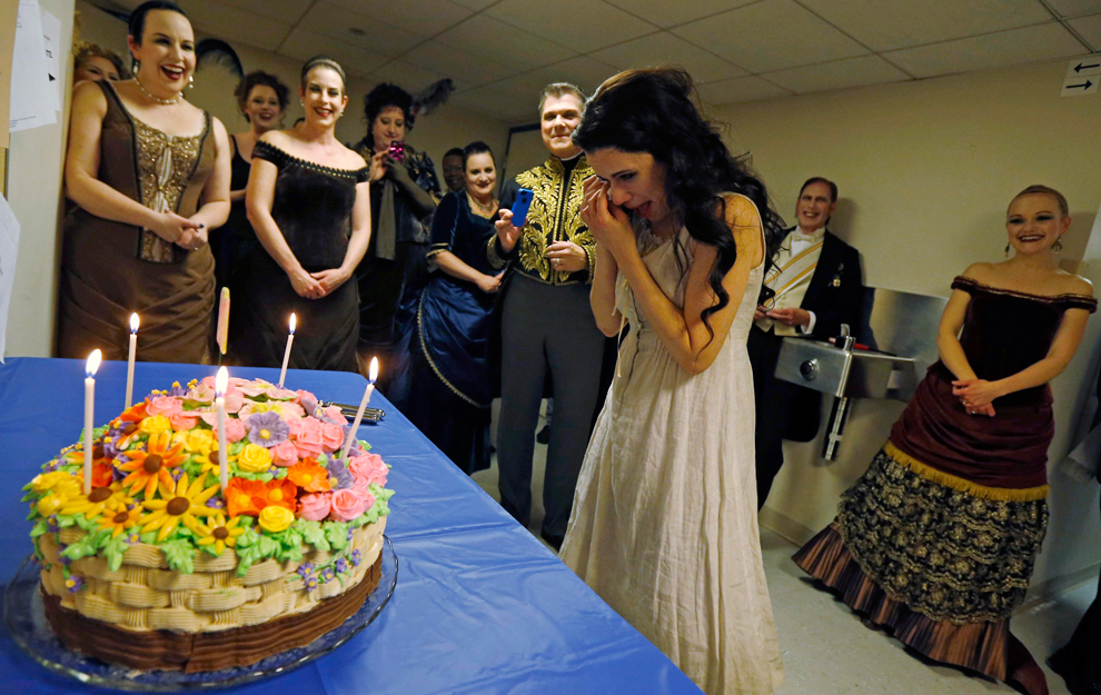 Performer Ana Maria Martinez Wipes Away Tears As She Is Presented With A Birthday Cake During Break Of The Performance Rusalka At Lyric Opera In