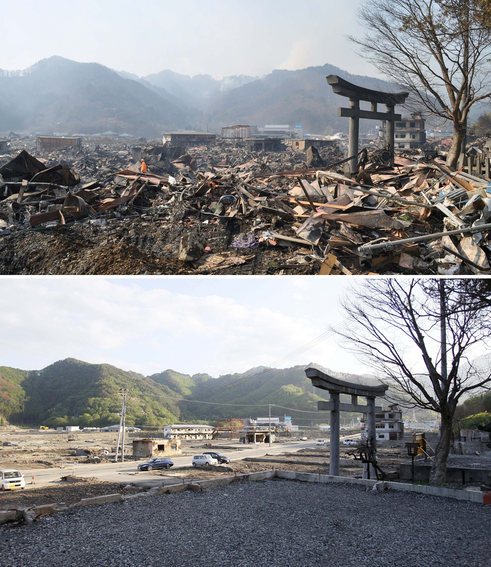In this combo of two photos, a shinto torii, or gateway, leading to Kozuchi shrine stands among the debris in Otsuchi, Iwate prefecture, northeastern Japan, on March 14, 2011, days after the devastating earthquake and tsunami hit the area, top, and the same area, bottom, with the debris almost cleared as photographed on June 3. (Kyodo News/Associated Press)