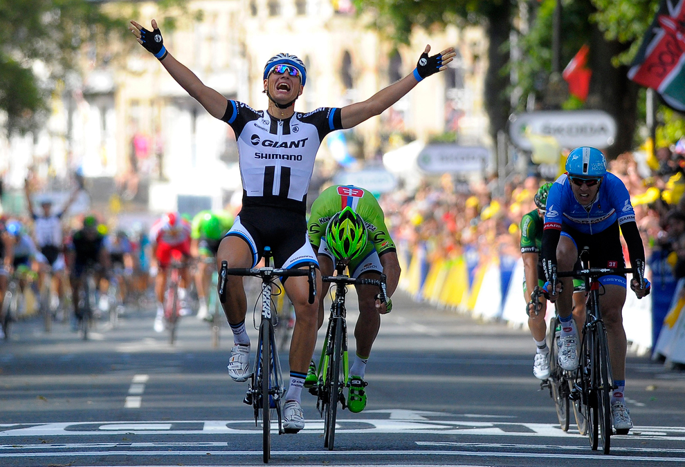 Giant Shimano procycling team rider Marcel Kittel of Germany celebrates  after winning the 1st stage of the 101st edition of the 2014 Tour de France  cycling ... c870b0fd3